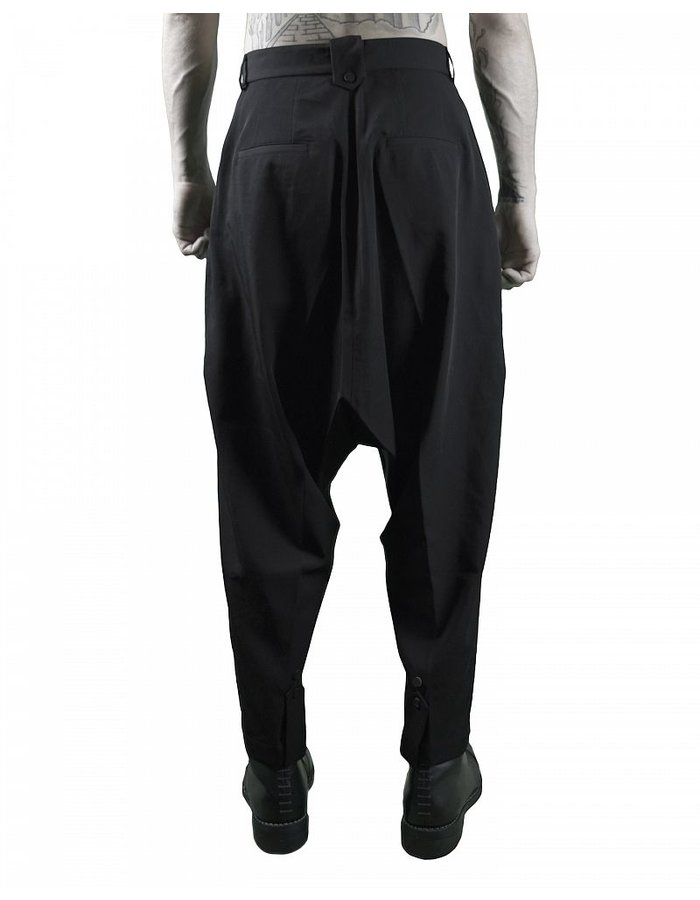 ISABEL BENENATO WOOL CREPE PANT WITH CUFF BUTTONS