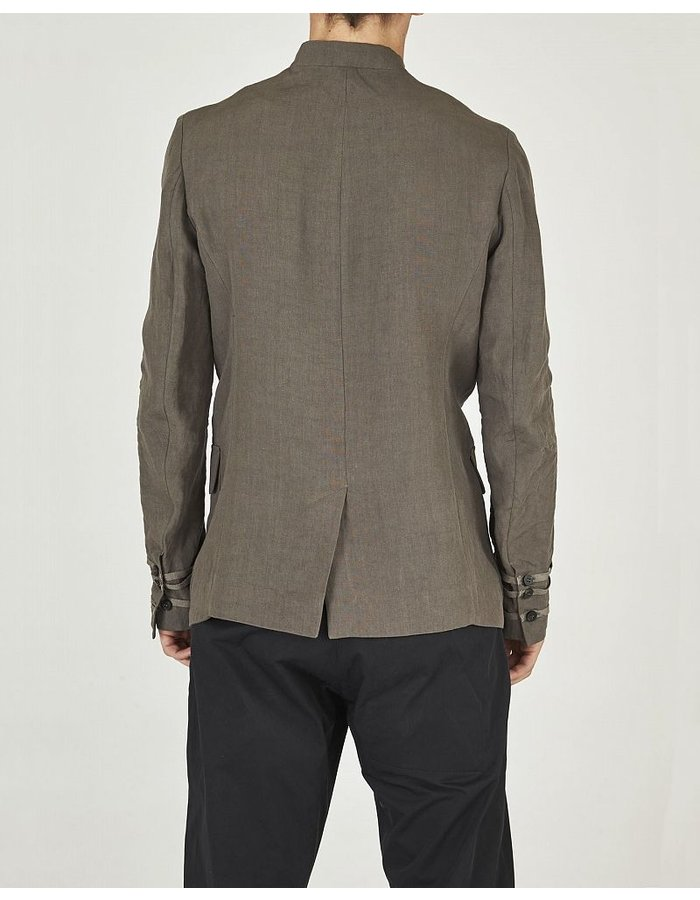 ISABEL BENENATO BANDED COLLAR MILITARY JACKET WITH RIBBON DETAILS DIRT
