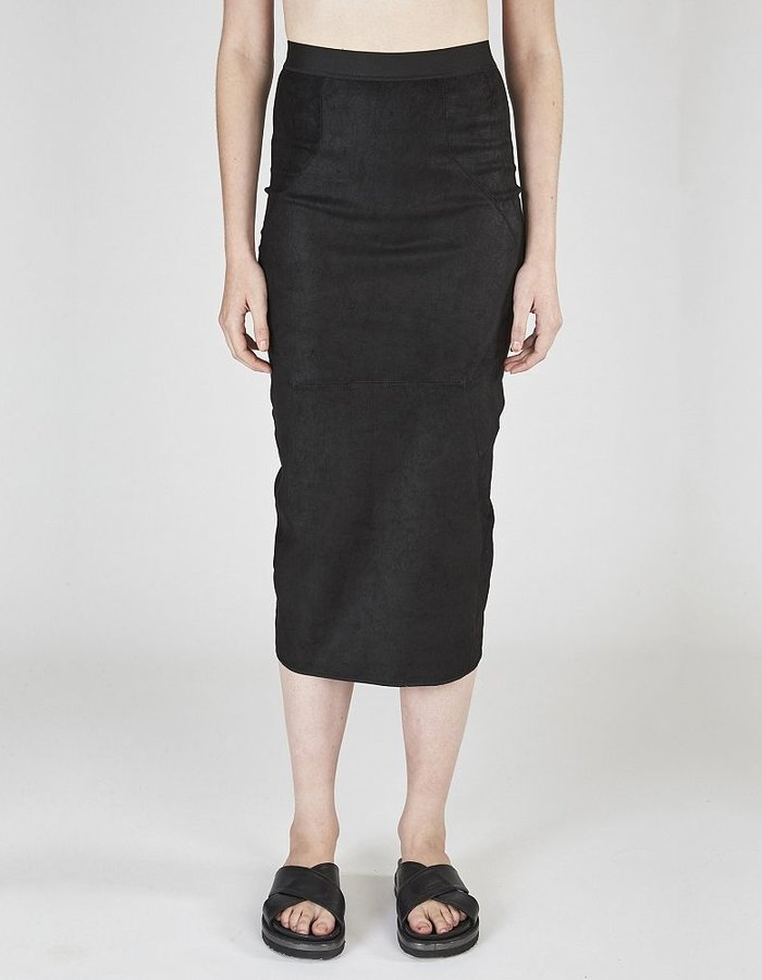 ISABEL BENENATO LONG STRETCH LEATHER SKIRT