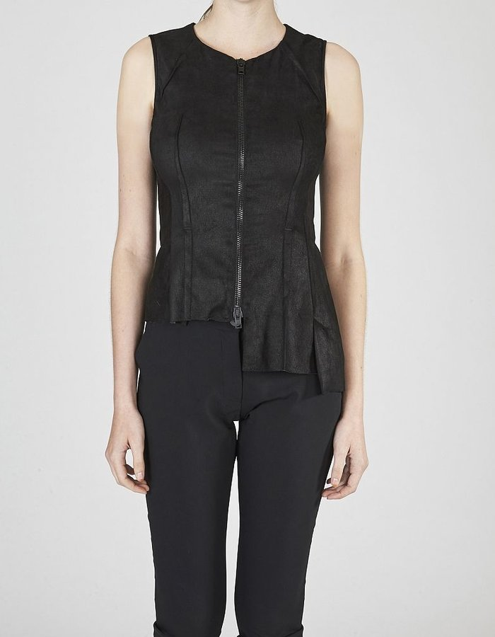 ISABEL BENENATO SLEEVELESS ASYMMETRIC STRETCH LEATHER TOP