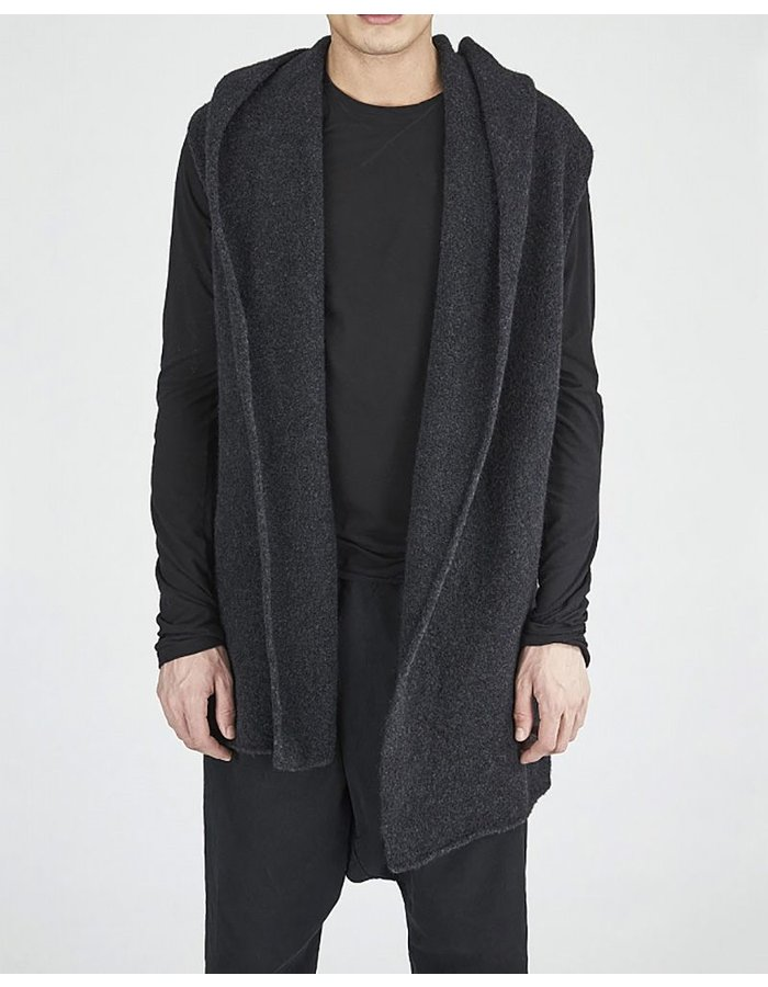 ISABEL BENENATO OVERSIZED KNIT WOVEN TRENCH BLK