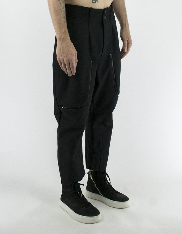 LOST AND FOUND WOOL MIX TROUSER W/ ZIPPER DETAIL