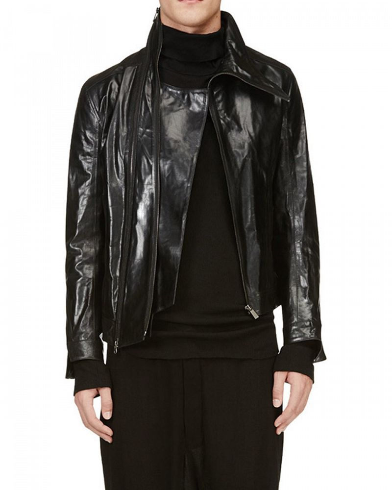 ASYMMETRIC ZIP NECK LEATHER JACKET