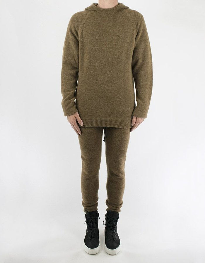 ISABEL BENENATO KNIT HOODED CREW NECK CAMEL