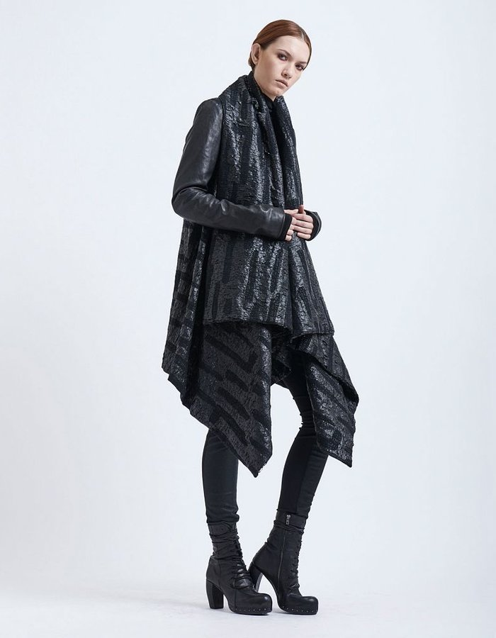 MASNADA BROCADE FALL COAT LEATHER SLEEVES BLK