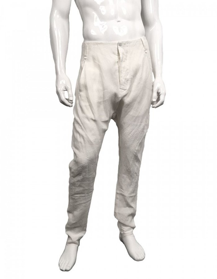MASNADA CRUMPLED LINEN BAGGY PANT  WHITE