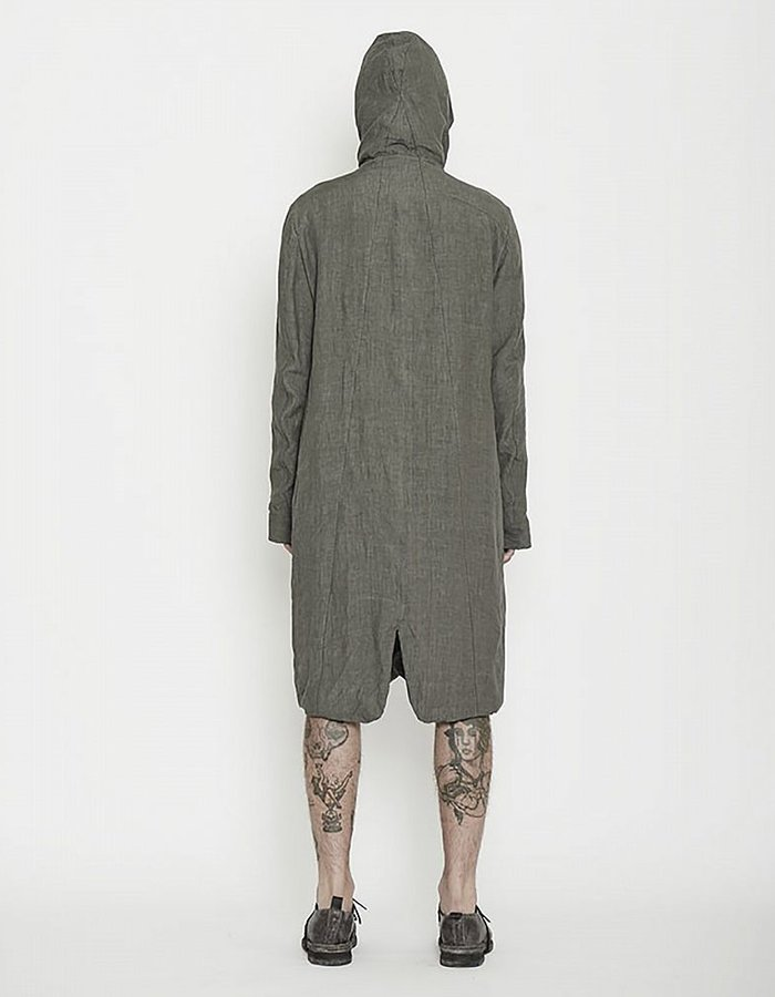 MASNADA MESH LINED HOODED LINEN JKT :GRY