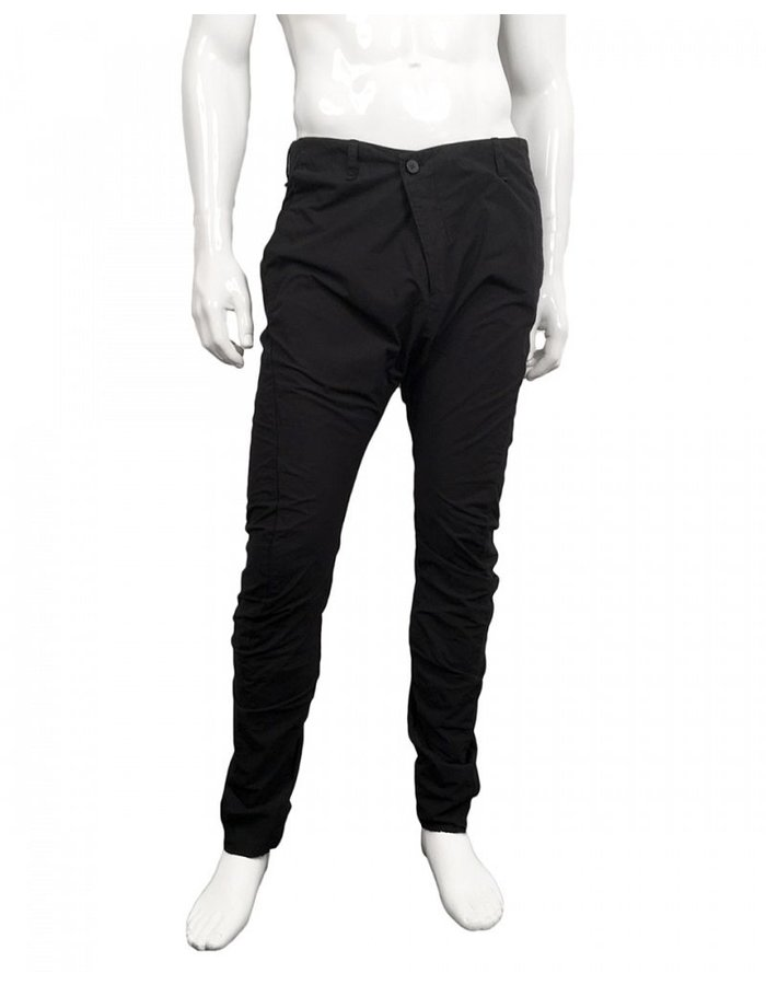 MASNADA MOTTLED COTTON TROUSER -BLACK