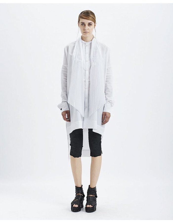MASNADA PLEATED COTTON SMOKING SHIRT :WHITE