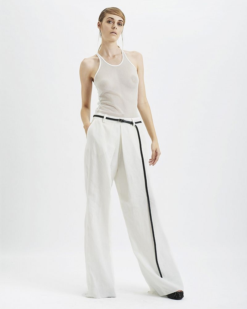 SPLIT BACK LINEN PANTS :WHT