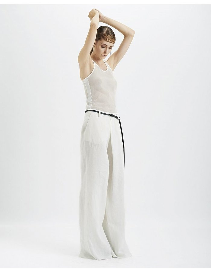 MASNADA SPLIT BACK LINEN PANTS :WHT
