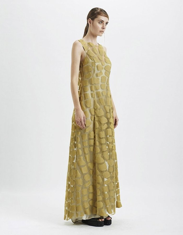 MASNADA TORTOISE CARAPACE LONG DRESS :SULPHUR
