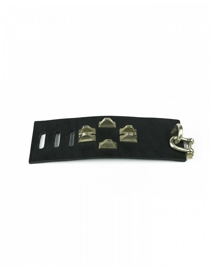 PARTS OF 4 RESTRAINT CHARM BRACELET PYRAMID STUDS, 70MM, BLK+Z