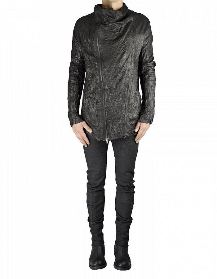 SANDRINE PHILIPPE PERFECTO DRAPE FRONT LEATHER JACKET 'MARLON'