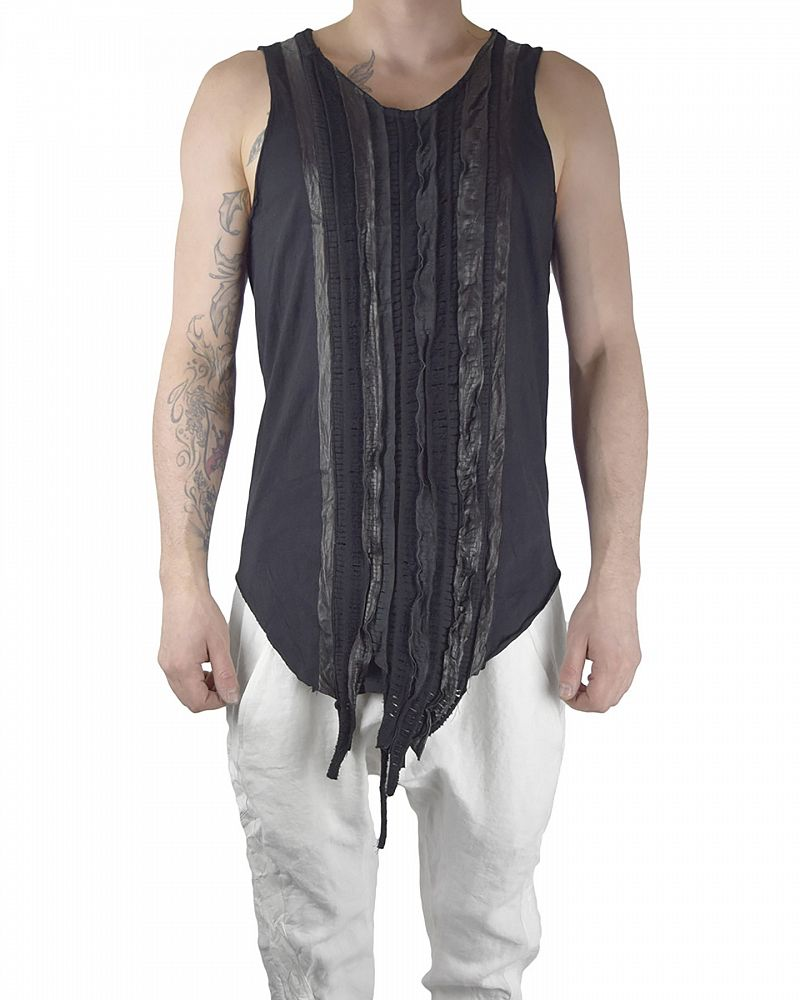 TANK TOP WITH LEATHER WOVEN BAND