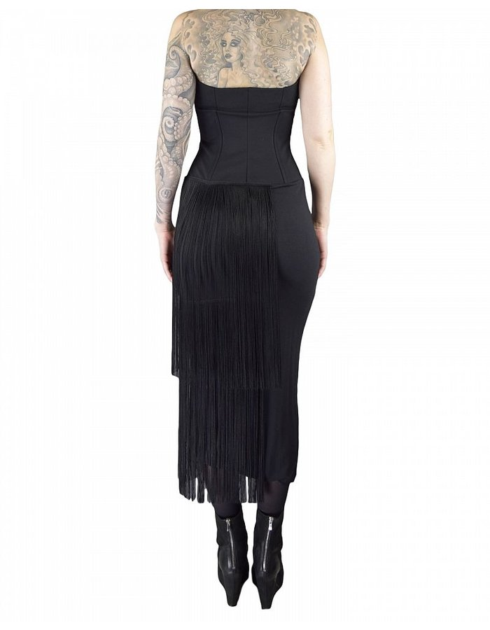 NOSTRA SANTISSIMA BUSTIER DRESS WITH FRINGE