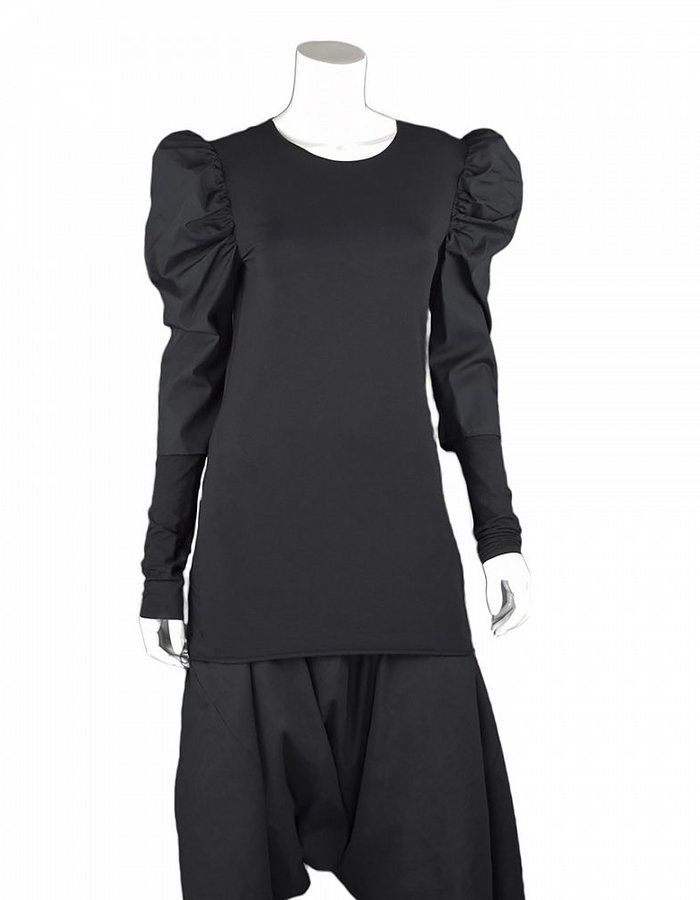 NOSTRA SANTISSIMA PUFF SHOULDER BLOUSE BLACK