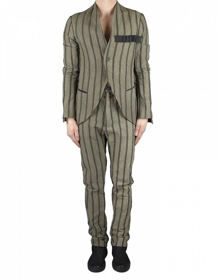 NOSTRA SANTISSIMA STRIPED TROUSER WITH BACK DETAIL