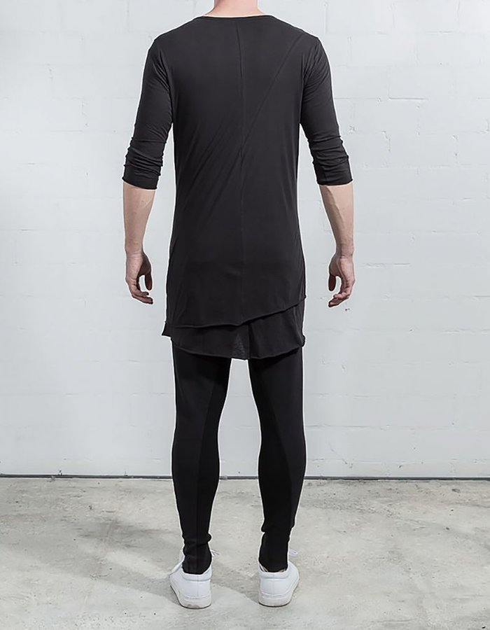 THOM KROM DOUBLE LAYER T 3/4 SLEEVE BLK
