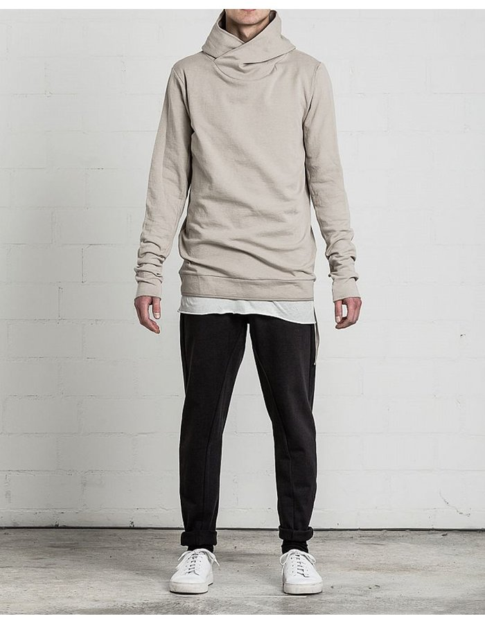 THOM KROM HOODED TSHIRT WITH PIPING SAND