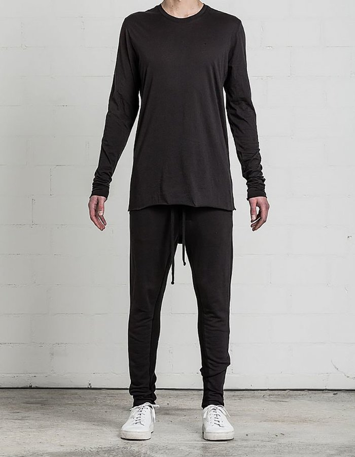 THOM KROM PULLOVER SWEATSHIRT BACK PIPING BLK