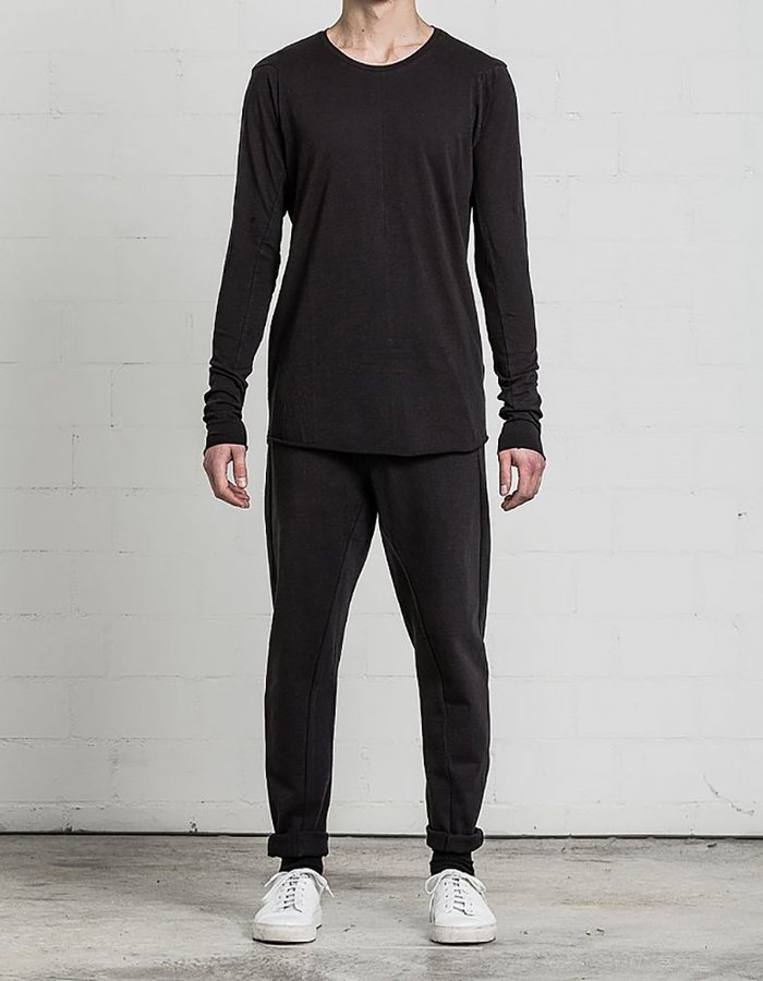 THOM KROM BASIC L/S SHIRT WITH RAW CUT DETAILS BLK
