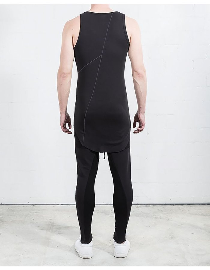 THOM KROM TANK TOP WITH SEAM - BLACK