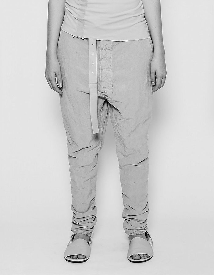 PAL OFFNER DROP CROTCH TROUSER IN COTTON AND LINEN SMOKE