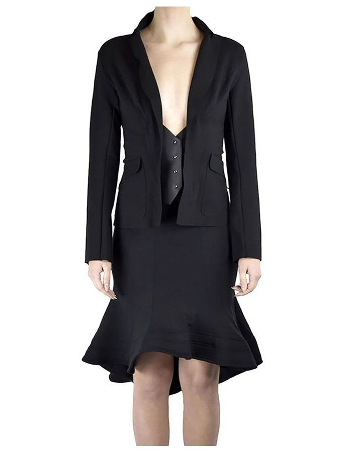 DAVID'S ROAD LONG SLEEVE BLAZER WITH LEATHER DETAIL
