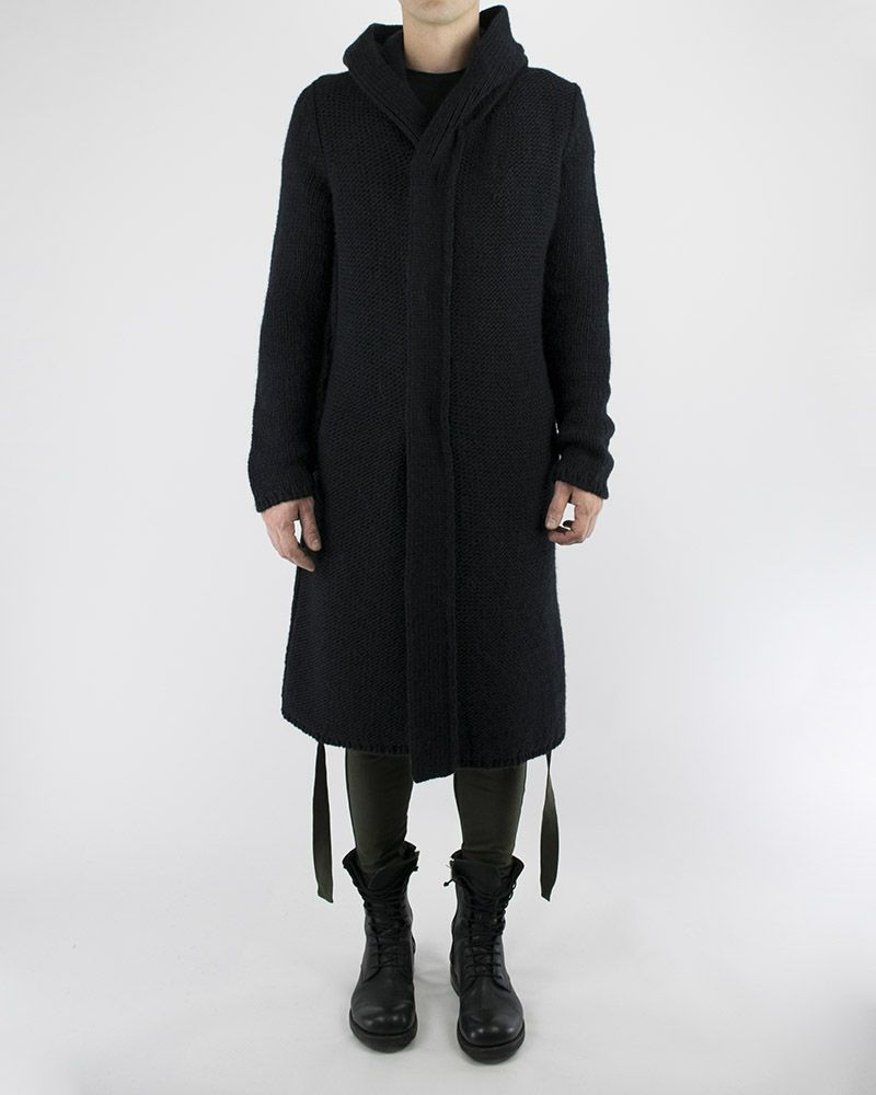 HOODED LONG KNIT CARDIGAN