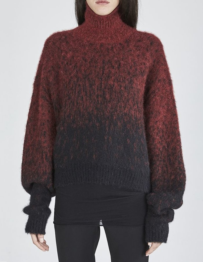 ISABEL BENENATO JACQUARD DEGRADE KNIT BOXY SHORT TURTLE NECK BLK/RED