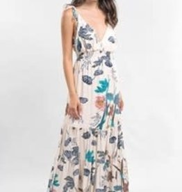 Printed Tie Shoulder Dress