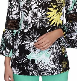 RubyRoad-23155/01 Jewel Neck Tropical Print Knit Top