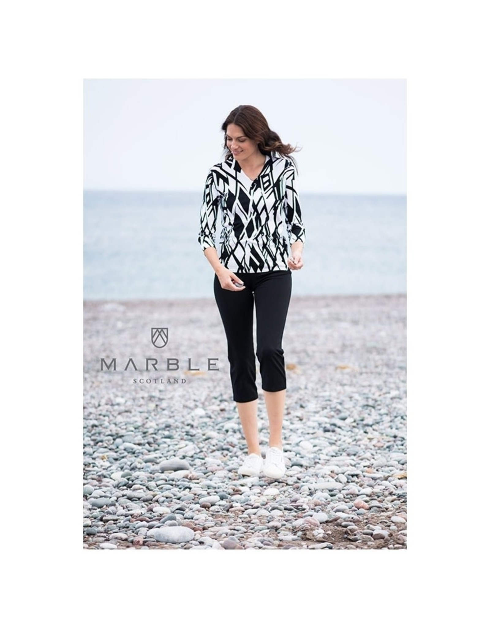 Marble Style-5591 Geo Print V Neck Sweater