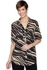 RR-57445 Roll Tab Sleeve Button Front Blouse