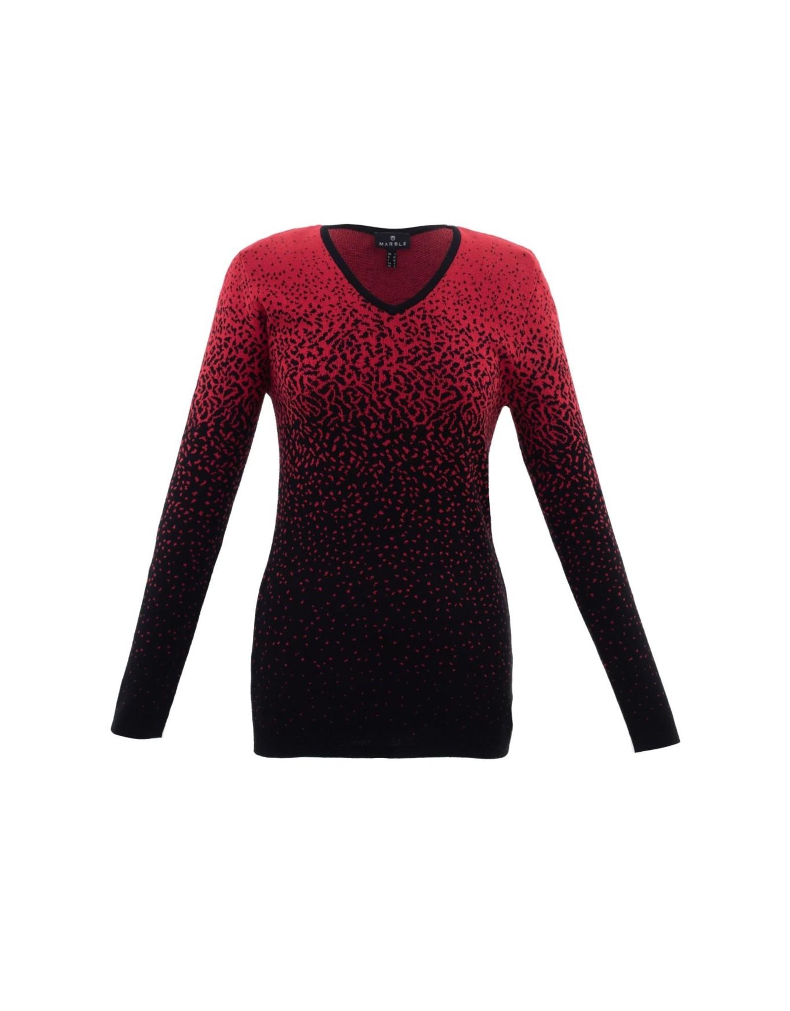 Marble  V-Neck Splatter Sweater
