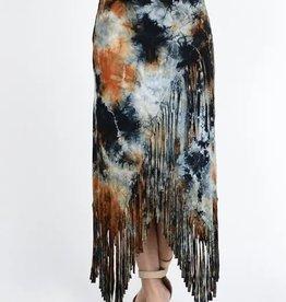 TParty-RN9786 Tie Dye Fringe Skirt