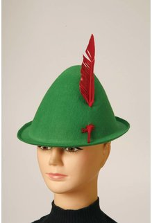 Alpine Hat with Red Feather: Green
