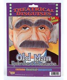 Old Man Eyebrow & Moustache: Grey