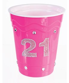 """Plastic Solo Cup """"21"""" - Pink"""