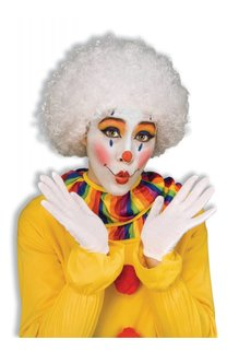 Adult Unisex Clown Afro Wig: White