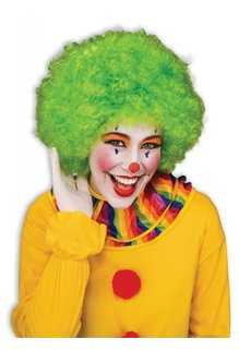 Adult Unisex Clown Afro Wig: Green