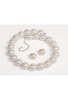 50's Jewelry Set: Pearl Necklace & Earrings