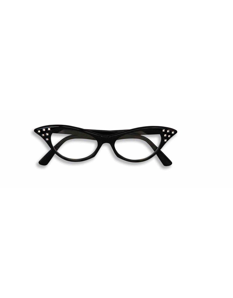 50's Rhinestone Glasses: Black