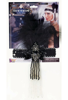 20's Flapper Headband with Black Feather: Black