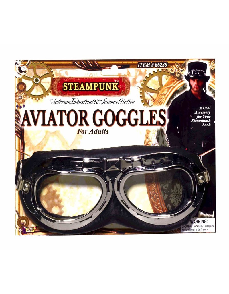 Steampunk Aviator Goggles: Black/Silver