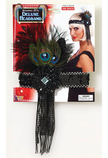 20's Flapper Headband with Peacock Feathers: Black