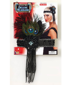 Flapper Headband w/ Peacock Feathers - Black