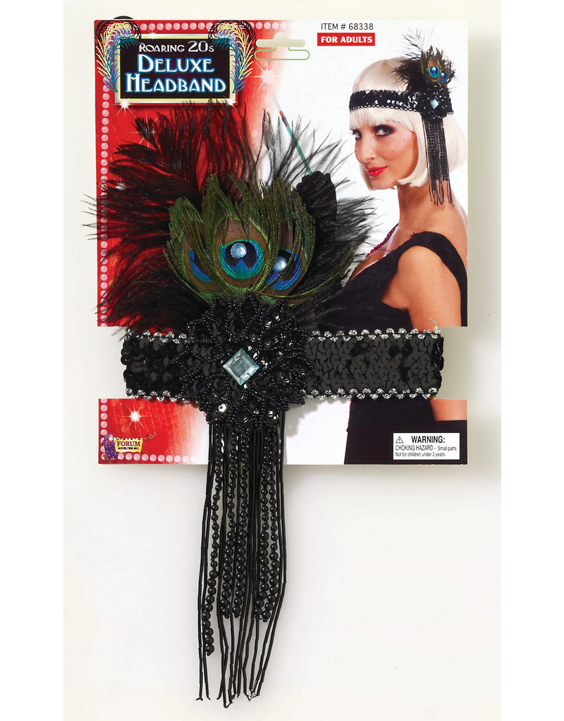 Flapper Headband w/ Peacock Feathers - Black