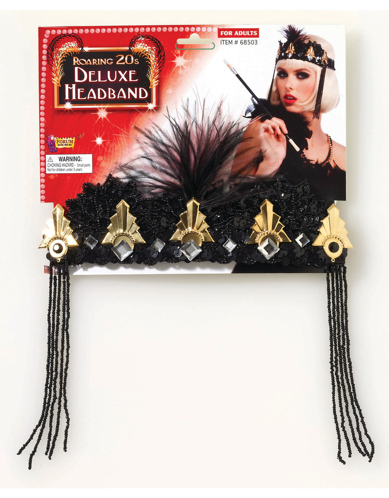 Black and Gold Crown Flapper Headband